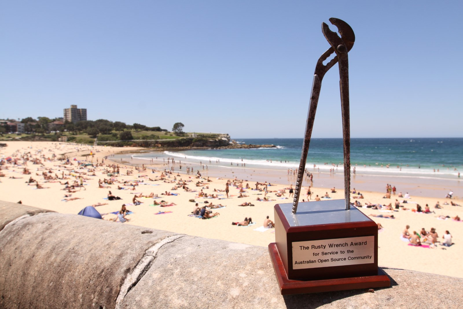 Tim Miller - http://dreamcoatphotography.com - https://www.flickr.com/photos/alborath/8454131835/in/pool-drupalconsydney/ The Rusty Wrench Award for service to the Australian Open Source Community - at Coogee Beach during DrupalCon Sydney the week after linux.conf.au Canberra 2013 where it was awarded to Donna Benjamin.